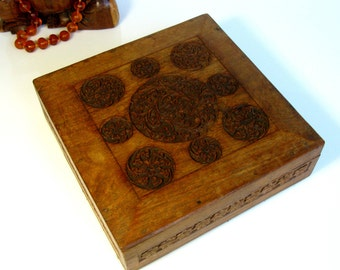 Antique / Wooden Cigar Box / Carved Wooden Box / Jewelry Box / Trinket Box / Keepsake Box / Bohemian / Square Box/ Ornate / Man Cave / India