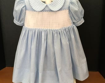 Ready To Smock Basic Yoke Dress Blue and White Gingham Special Order Sizes 1-8.