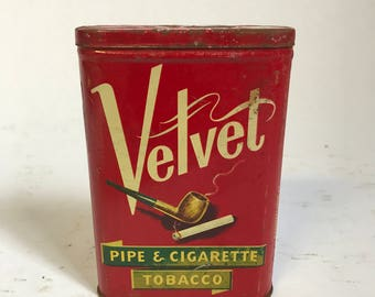 Velvet Pipe & Cigarette Tobacco Tin