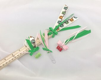Ribbon Planner Ruler Binder Clips Paperclip Owls Back To School Pink and Green Girly Home Office School Supplies Ready to Ship
