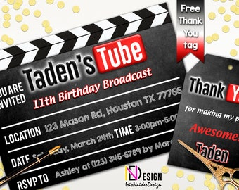 Youtube invitation, Youtube birthday invitation, Youtube theme party, Youtube thank you tag, Youtube theme invites, clapperboard invitation