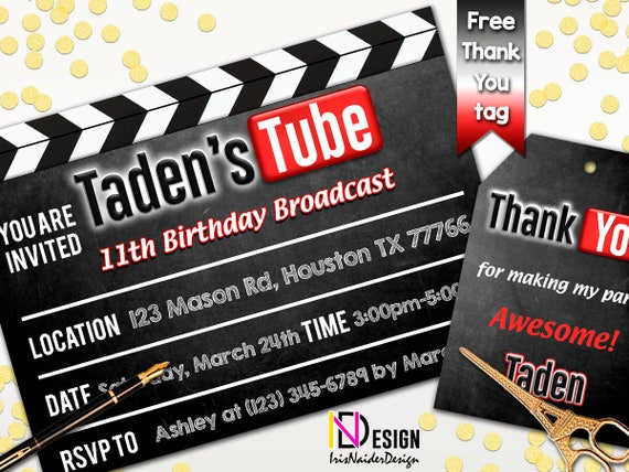 Youtube invitation youtube birthday invitation youtube theme party il570xn stopboris Image collections