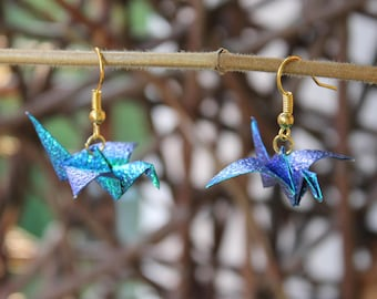 Origami crane earrings - self folded iridescent paper, reinforced mettalic turquoise, shimmering,