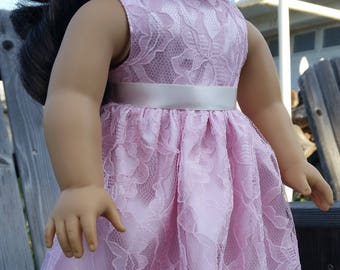 SALE! 18 Inch Doll Lace Dress-Pink