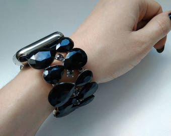 Women's Apple Watch Band 38mm Apple Watch Band BLACK Silver Crystal shine bling Women's iWatch Band Bracelet, Series I II Fitted handmade