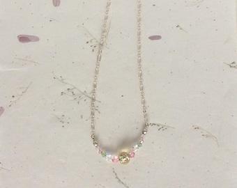 Crystal Rainbow Necklace, Crystal Necklace, Beaded Necklace, Rainbow Necklace, Lampwork Glass Focal