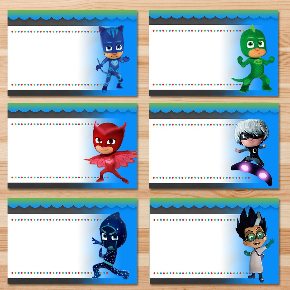 PJ Masks Food Tents - Chalkboard - PJ Masks Food Labels - PJ Masks Party - Pj Masks Birthday Party Favors - Pj Masks Place Cards Printables
