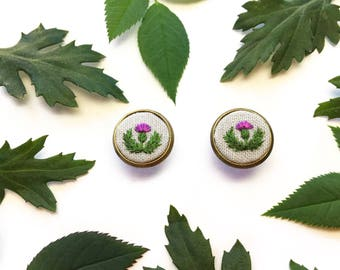 Hand Embroidered Thistle Earrings//Scottish Thistle Silk Embroidery Earrings