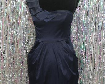 90's Dark Blue City Studio One Shoulder Dress (7)