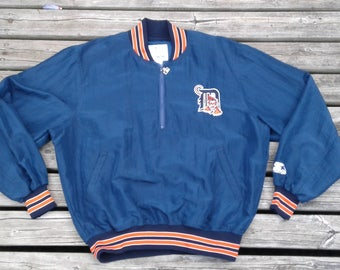 Vintage 90's Detroit Tigers Starter Pullover Warm Up Jacket Medium