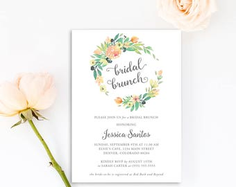 Watercolor Floral Rustic Bridal Shower Brunch Invitations | Bohemian Country Bridal Shower Invite | Printable or Printed | F1BS
