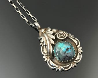 Navajo Turquoise Pendant Sterling Necklace Native American signed RB