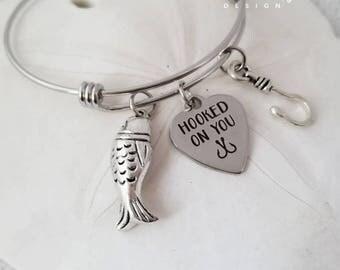 Hooked on You Bangle Bracelet-Fishing Bracelet-Stainless Steel Bangle-Fish Bracelet-Fish Jewelry-Engraved Charm-Coastal Collection-