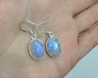 Moonstone for her, Blue Moonstone Earrings, June Birthstone gift, Bridesmaid Gifts, wedding earrings, gemstone gift wife, gift for boho wife