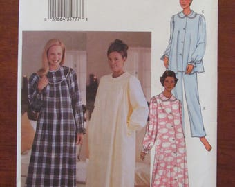 BUTTERICK DRESSMAKING PATTERN - 3656 Ladies Sleepwear, Robe, Nightgown, Top and Pants, Size XSmall, S & M  Uncut