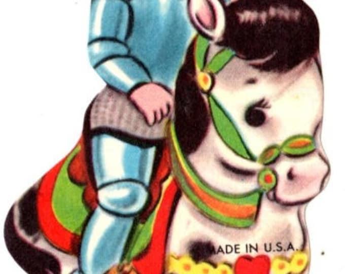 Vintage Boy Knight Valentine Die-Cut Children's Classroom Valentine's Day Card UNUSED