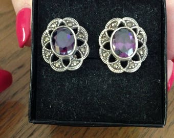 Amethyst and Marcasite Sterling Silver Earrings