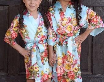 ADD CUSTOMIZATION! Kid's Satin Robes, Girl's Floral Robes, Easter Basket Filler, Toddler Girl Gift, Wedding Robe For Children