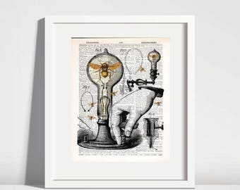 BEE ART Print Honey Bee Wall Art Thomas Edison Light Science Gift Quirky Decor