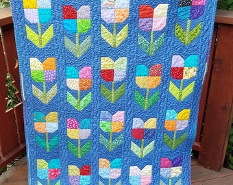 Calico Tulips on Chambray Blue Baby Quilt/Scrappy Floral Baby Quilt/Colorful Handmade Baby Quilt