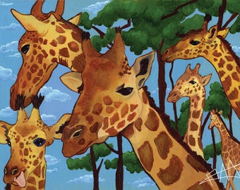 A Family Gathering Giraffe print in A4 or 6x4
