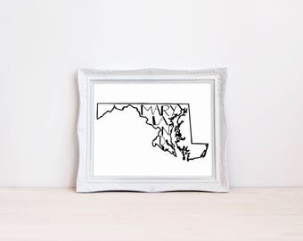 "Maryland State Print || 8""x10"" Maryland Wall Art 