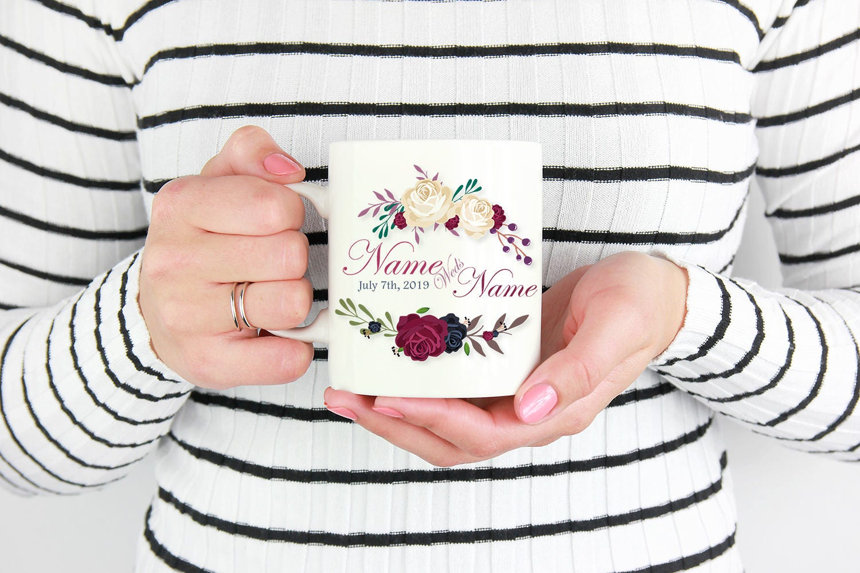 Personalized coffee mug wedding announcement anniversary gift custom ...