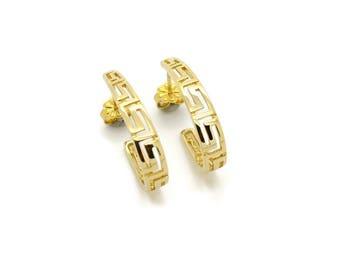 14K Yellow Gold Earrings, Greek Earrings, Greek Key Earrings, Ancient Greek Jewelry, Pattern Earrings, Fine Gold Earrings, Meander Earrings