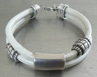 White leather sterling silver cuff, Zamac sterling silver plated tubes bracelet, gift for him