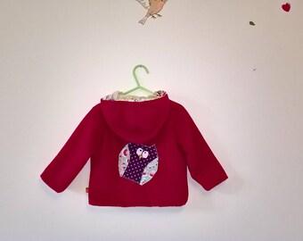 Coat pink fleece child 1 year.