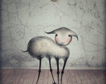 Art Prints, Drawings & Illustration, Lamb Print, Lamb Drawing, Animal Drawing, Animal Sketch, Cute Art, Pencil Sketch, Wall Art, Nursery Art