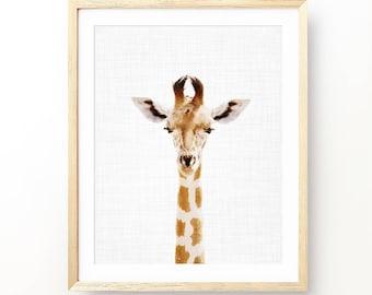 Giraffe Print, Nice Giraffe, Animal Nursery Art, Baby Animal Portrait, Nursery Decor, Animal Print Nursery, Girl Gift, Digital Print, Art