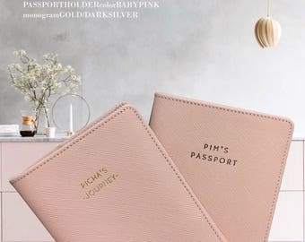 Passport Cover - Monogram Passport- Personalized Leather Passport Holder - Passport Cases - Passport Cover - Wedding Gifts (Baby Pink)