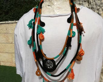 Colorful layered necklace,Bohemian colorful necklace,Colorful necklace,Rope statement necklace,Bohemian rope necklace,layered  rope necklace