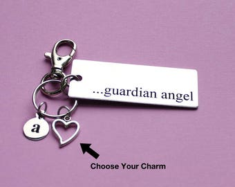 Personalized Memorial Key Chain Guardian Angel Stainless Steel Customized with Your Charm & Initial - K146