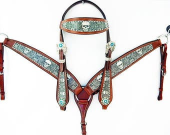 Custom Tribal Skull Western Leather Cowboy Show Horse Bridle Headstall Breast Collar Tack Set