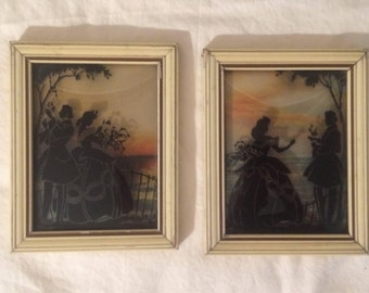 Pair of Victorian REVERSE PAINTING Silhouette Paintings - Convex Glass