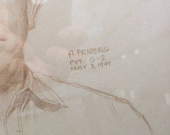 Arnold Friberg Original Sketch - WW2 Art - FREE SHIPPING in US