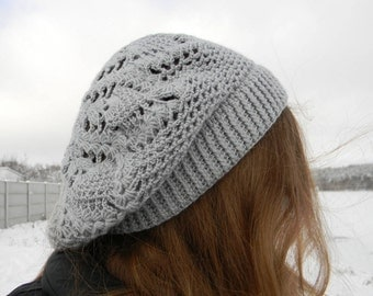 Spring Slouchy hat knit beret Crochet Knit Ladies Winter women Hat Light Grey Gray Lace Spring beret warm mother's day gift christmas sale