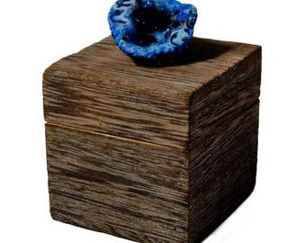 Small Driftwood Box with Blue Geode