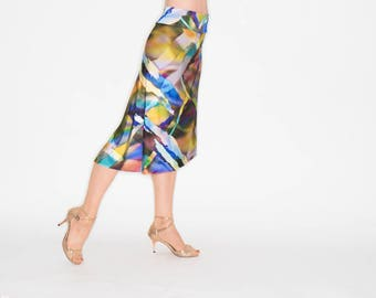 D ARIENZO Asymmetric Skirt - Colorfull Print