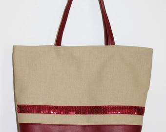 Cotton tote bag and Burgundy leatherette with glitter