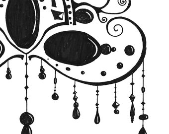 Black and White Art Print- Black and White Illustration- 'Bead Drop Mask' Illustration- Hand Drawn Reproductions- 8.5 x 11 Art Print