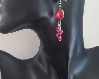 """""""Fuchsia"""" pierced earring"""