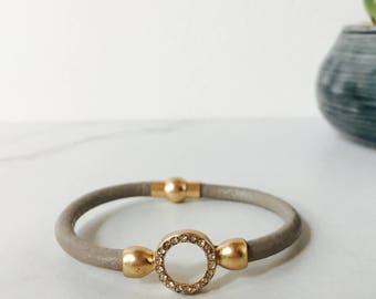 Gray/Taupe & Gold Leather Bracelet