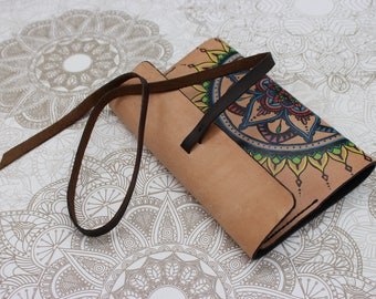 Notebook case//handpainted//Mandala//Interchangeable Notepad//18.5 x 12 cm//original and personal gift