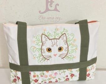Spring Cat Embroidered Bag - Hand Made in Japan
