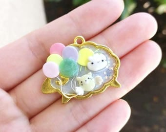 UV Resin Charm with Flying Cat - Cloud - Balloons