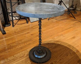 Industrial Table   Zinc Table Top With Camshaft U0026 Drum Rotor Table Base