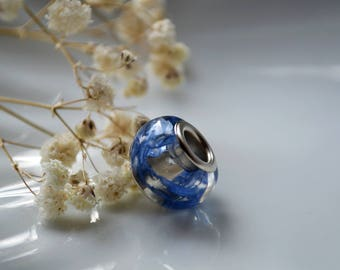 Pandora Style Bead - pandora flower charm - flower jewelry - pandora cornflower charm - flower jewelry - real cornflower charm